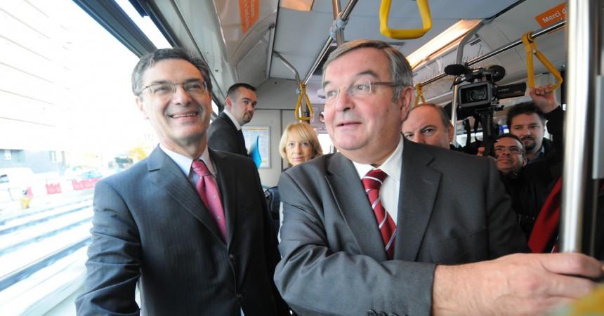 Patrick Devedjian et Michel Mercie visitent les travaux de prolongement du T2