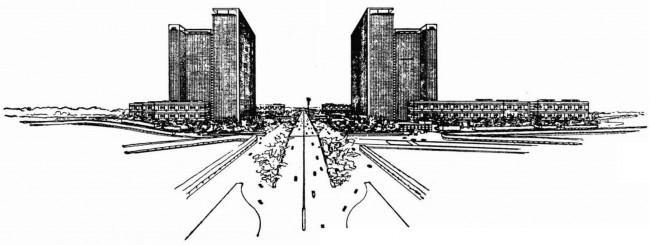 Croquis de la proposition du Corbusier
