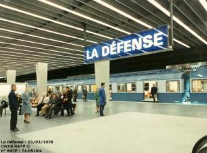 Une rame en gare de La Défense le 23 mars 1970. ©RATP