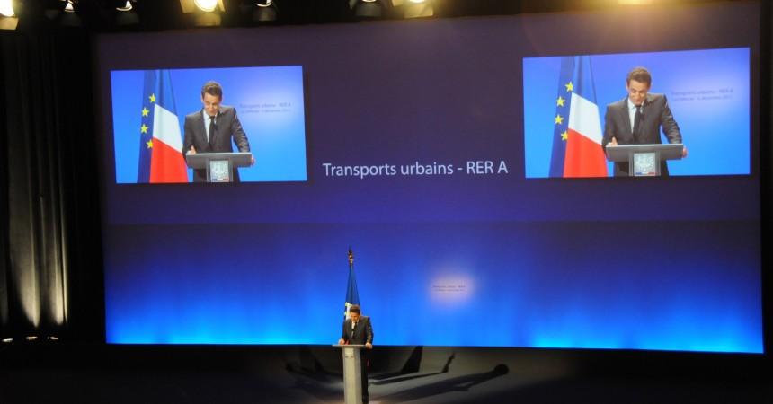 Nicolas Sarkozy prend le RER A pour le lancement des MI09