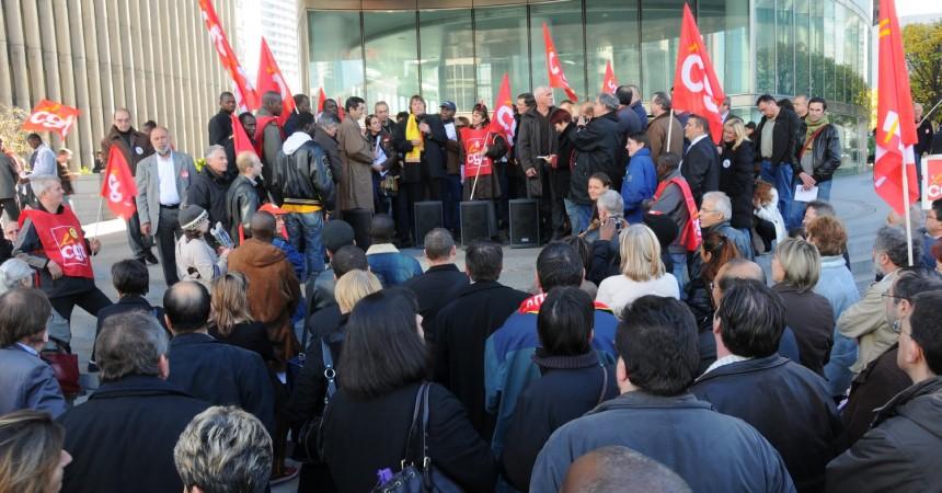 Rassemblement de la CGTà La Défense