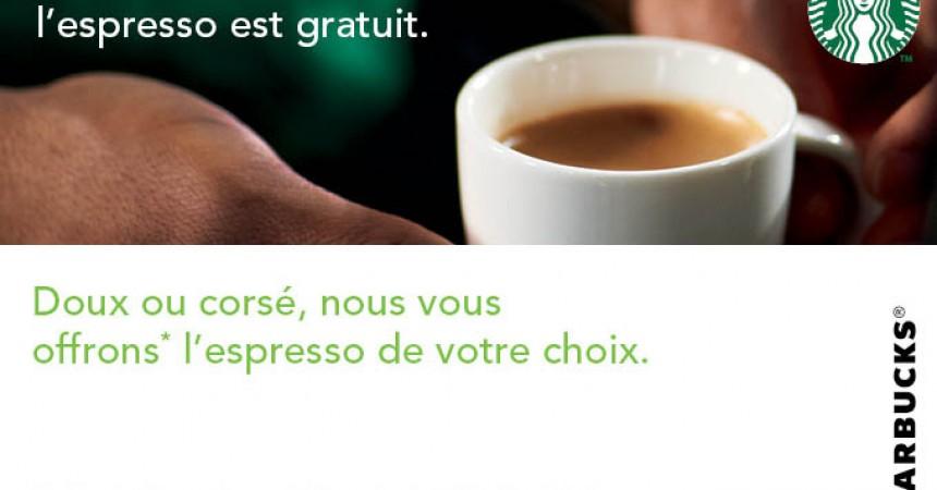 Le lundi Starbucks vous offre l'espresso