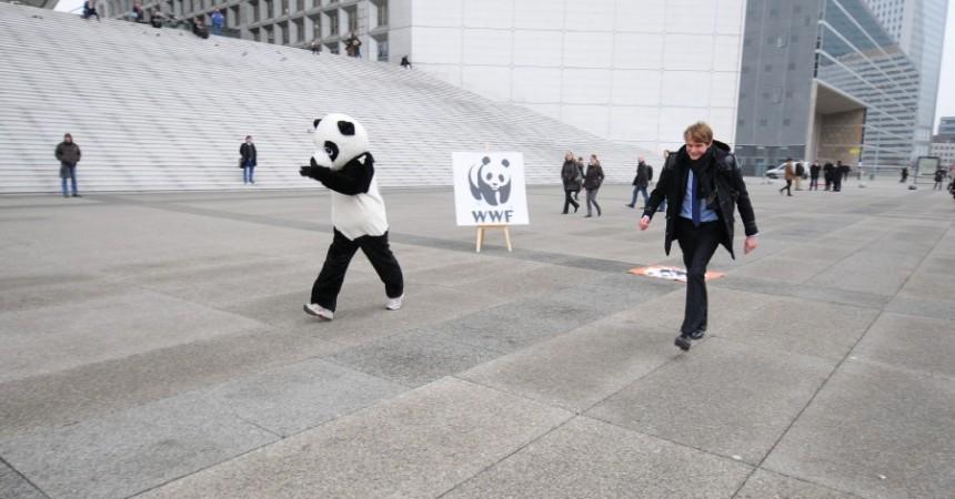 Un panda sur le parvis de La Défense