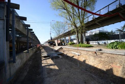 Les travaux d'aménagement des Jardins de l'Arche, le 14 avril 2015 - Defense-92.fr