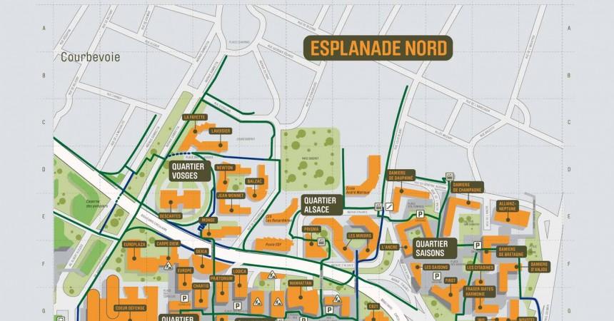 Plan de La Défense : Esplanade Nord