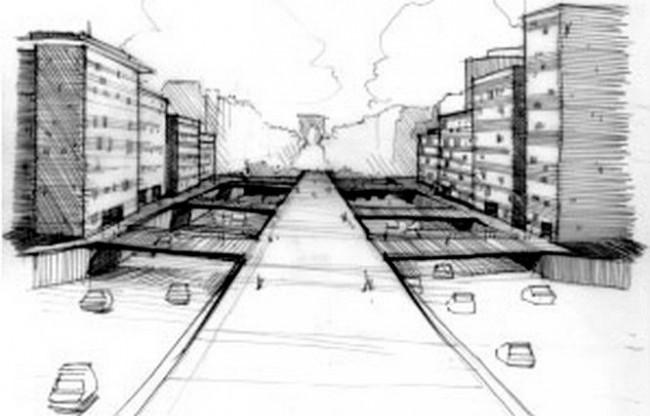 Un croquis du projet du pont habité de 2008 - DR