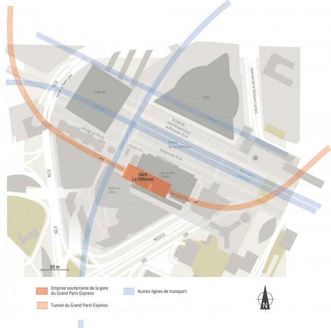 Le plan du futur hub de transports à La Défense en 2027 avec le Grand Paris Express et le RER E - DR