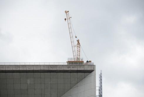Les travaux préparatoires de la rénovation de la Grande Arche le 18 mai 2015 - Defense-92.fr