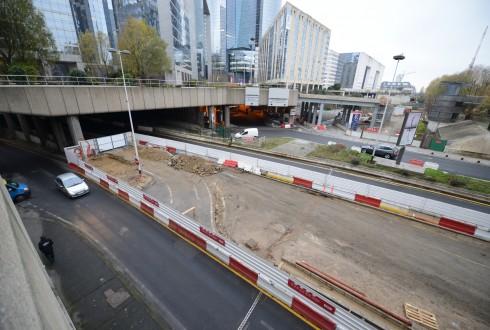 Les travaux préparatoires    de la rénovation de la Grande Arche le 15 décembre 2014 - Defense-92.fr