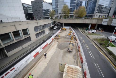 Les travaux préparatoires de la rénovation de la Grande Arche le 22 décembre 2014 - Defense-92.fr