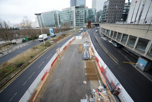 Les travaux préparatoires de la rénovation de la Grande Arche le 26 janvier 2015 - Defense-92.fr