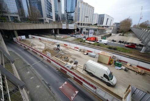 Les travaux préparatoires de la rénovation de la Grande Arche le 13 janvier 2015 - Defense-92.fr