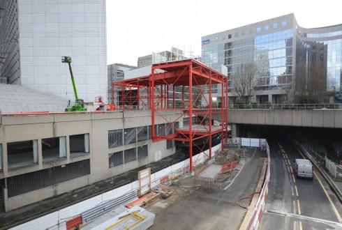 Les travaux préparatoires de la rénovation de la Grande Arche le 23 février 2015 - Defense-92.fr
