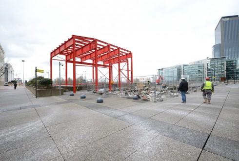 Les travaux préparatoires de la rénovation de la Grande Arche le 2 février 2015 - Defense-92.fr