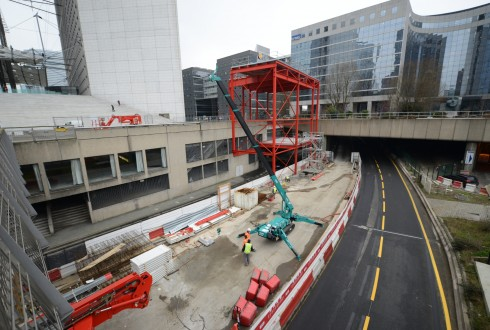 Les travaux préparatoires de la rénovation de la Grande Arche le 9 février 2015 - Defense-92.fr