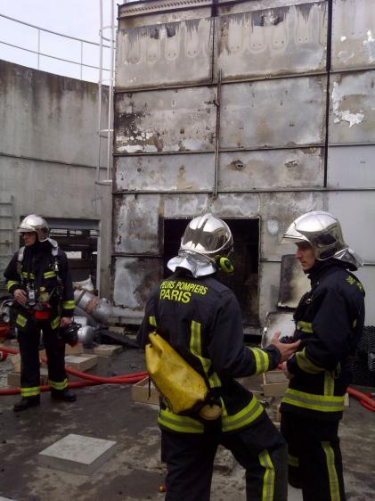 Image du sinistre sur le toit de la tour B de Coeur Défense- DR