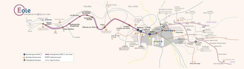 La carte du projet de prolongement du RER E