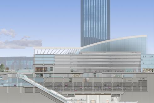 Coupe transversale de la gare du RER E de La Défense