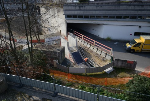 Les travaux d'aménagement des Jardins de l'Arche, le 16 mars 2015 - Defense-92.fr
