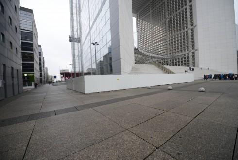 Les travaux de rénovation de la Grande Arche le 24 mars 2015 - Defense-92.fr