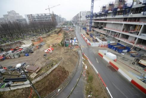 Les travaux d'aménagement des Jardins de l'Arche, le 24 mars 2015 - Defense-92.fr