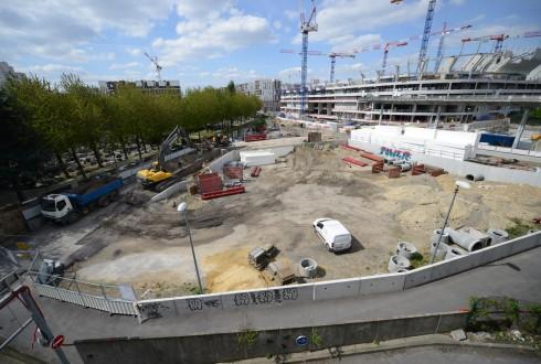 Les travaux d'aménagement des Jardins de l'Arche, le 28 avril 2015 - Defense-92.fr