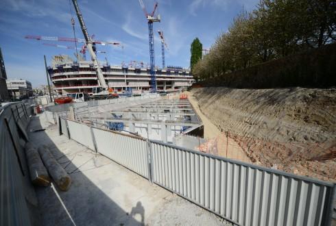 Les travaux d'aménagement des Jardins de l'Arche, le 20 avril 2015 - Defense-92.fr