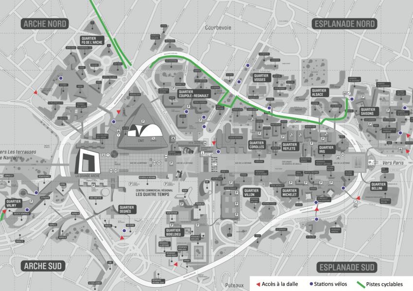 Plan d'accès et stations vélos - Defacto