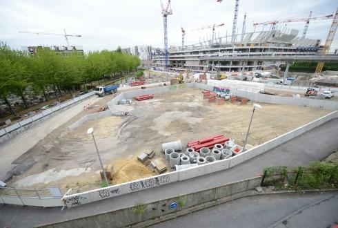 Le terrain de l'hôtel CitizenM le 4 mai 2015 - Defense-92.fr