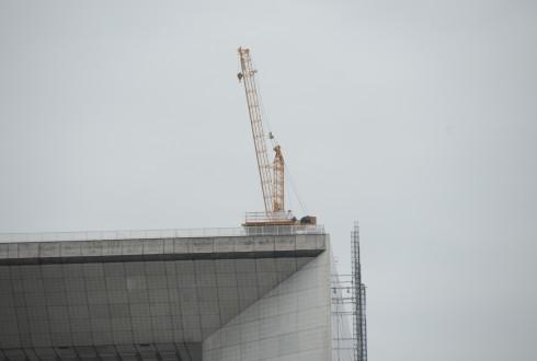 Les travaux de rénovation de la Grande Arche le 4 mai 2015 - Defense-92.fr
