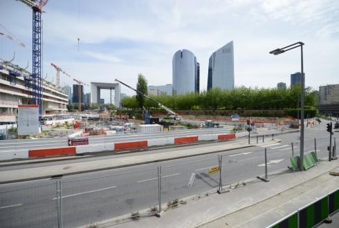 Les travaux d'aménagement des Jardins de l'Arche, le 11 mai 2015 - Defense-92.fr