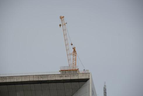 Les travaux de rénovation de la Grande Arche le 11 mai 2015 - Defense-92.fr