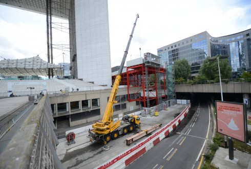Les travaux de rénovation de la Grande Arche le 1er juin 2015  - Defense-92.fr