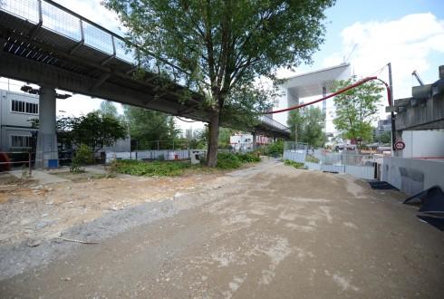 Les travaux d'aménagement des Jardins de l'Arche, le 1er juin 2015 - Defense-92.fr