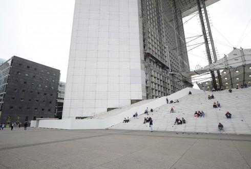 Les travaux de rénovation de la Grande Arche le 15 juin 2015  - Defense-92.fr