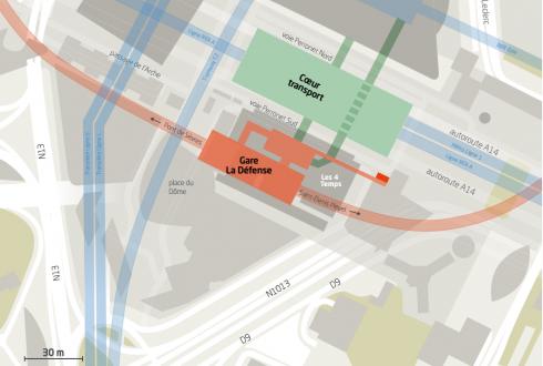 L'emplacement de la gare de la ligne 15 du Grand Paris à La Défense - Defense-92.fr