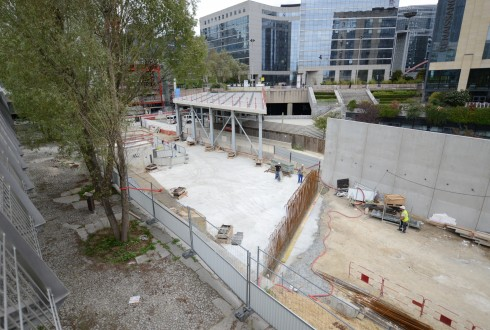 Les travaux d'aménagement des Jardins de l'Arche, le 7 septembre 2015 - Defense-92.fr
