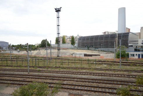Les Groues, le terrain du chantier du prolongement du RER E (Eole) le 7 septembre - Defense-92.fr