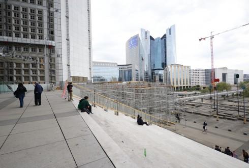 Les travaux de rénovation de la Grande Arche le 7 septembre 2015  - Defense-92.fr