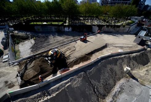Les travaux d'aménagement des Jardins de l'Arche, le 28 septembre 2015 - Defense-92.fr