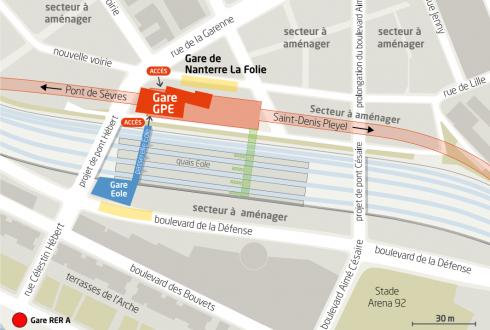 L'emplacement de la gare de la ligne 15 du Grand Paris à Nanterre - Defense-92.fr