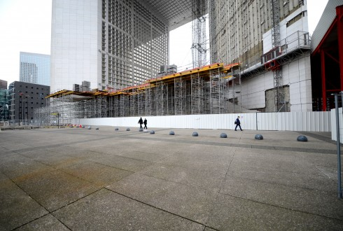 Les travaux de rénovation de la Grande Arche le 5 octobre 2015 - Defense-92.fr