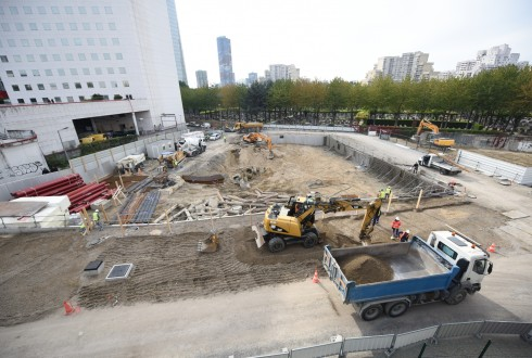 Le chantier de l'hôtel CityzenM le 12 octobre 2015 - Defense-92.fr