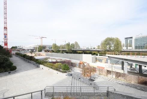 Les travaux d'aménagement des Jardins de l'Arche, le 12 octobre 2015 - Defense-92.fr