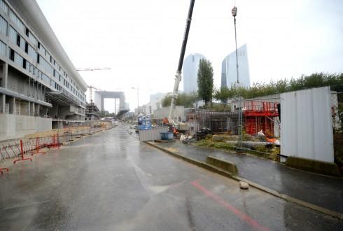 Les travaux de la promenade de l'Arche le 5 octobre 2015 - Defense-92.fr