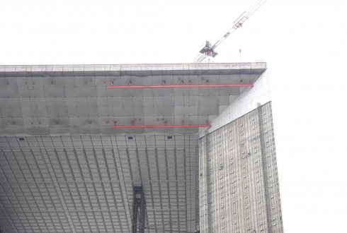 Les travaux de rénovation de la Grande Arche le 19 octobre 2015 - Defense-92.fr