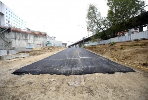 Les travaux de la promenade de l'Arche le 19 octobre 2015 - Defense-92.fr