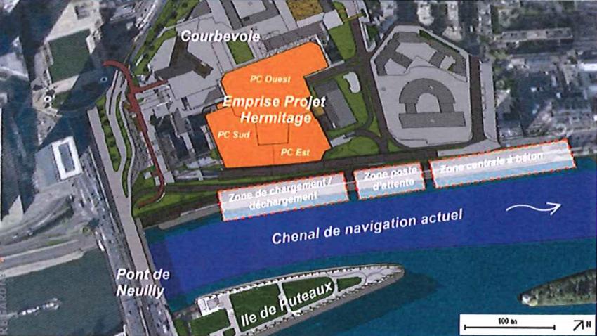 Le projet de desserte fluviale pour le chantier des tours Hermitage - DR