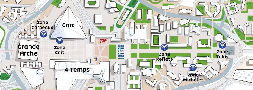 Les cinq hotspots Wi-Fi installés par Defacto dans le quartier de La Défense - DR