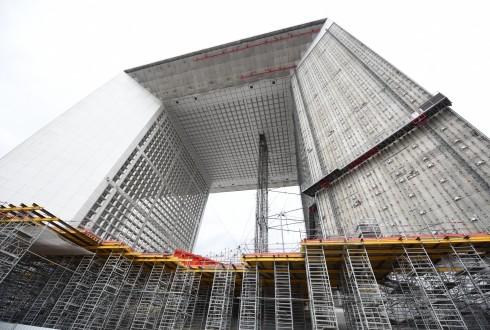 Les travaux de rénovation de la Grande Arche le 3 novembre 2015  - Defense-92.fr
